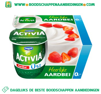 Activia Yoghurt aardbei 0% vet 4-pak aanbieding