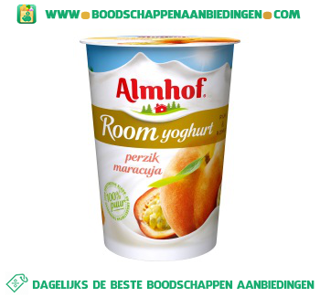 Almhof Roomyoghurt maracuja perzik aanbieding