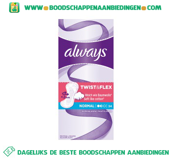 Always Twist & flex normal discreet freshness inlegkruisjes aanbieding