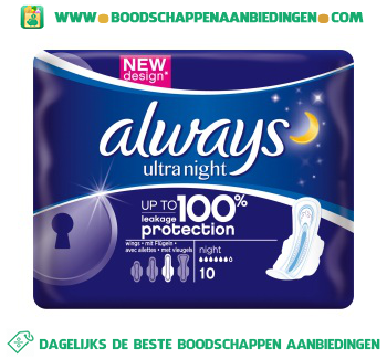 Always Ultra night maandverband met vleugels aanbieding