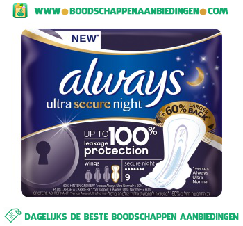 Always Ultra secure night maandverband met vleugels aanbieding