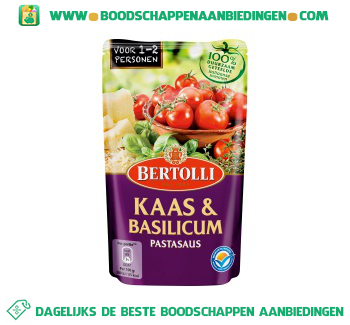 Bertolli Pastasaus in zak kaas & basilicum aanbieding