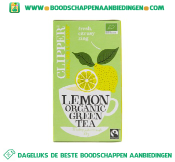 Clipper Organic green tea lemon 1-kops aanbieding