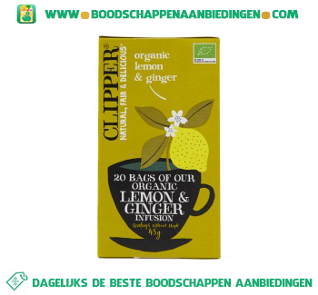 Clipper Organic lemon & ginger 1-kops aanbieding