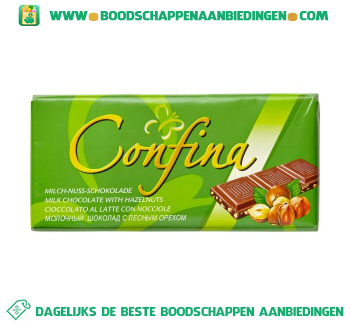 Confina Chocoladereep melk/hazelnoot aanbieding