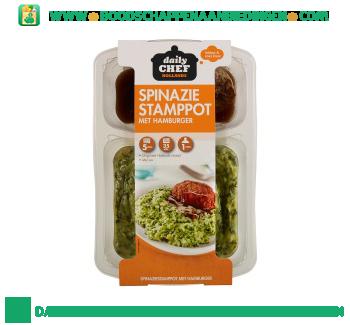 Daily Chef Spinazie stamppot met hamburger aanbieding