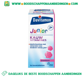 Davitamon Junior kauwvitamines framboos aanbieding