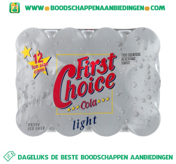 First Choice Cola light 12-pak aanbieding