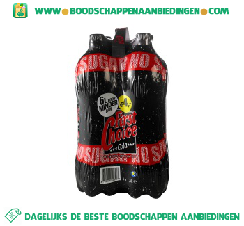 First Choice Cola no sugar 4-pak aanbieding