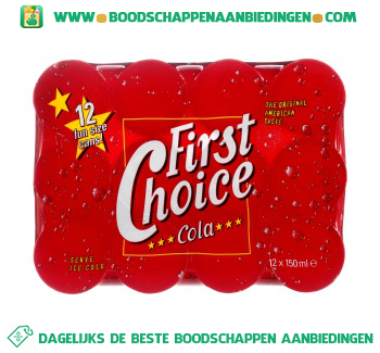 First Choice Cola regular 12-pak aanbieding