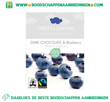Green Dream Dark chocolate&blueberry aanbieding
