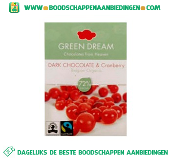 Green Dream Dark chocolate&cranberry aanbieding
