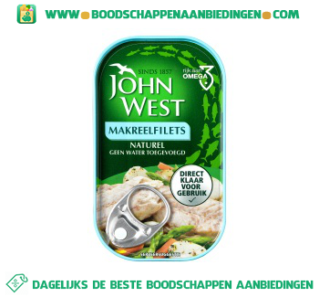 John West Makreelfilets naturel aanbieding