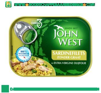 John West Sardinefilets zonder graat in extra vergine olijfolie aanbieding