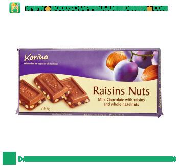 Karina Chocoladereep melk & druif & noot aanbieding