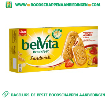 Liga Belvita sandwich yoghurt aardbei aanbieding
