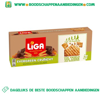Liga Evergreen crunchy muesli chocolade aanbieding