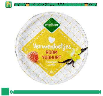 Melkan Roomyoghurt framboos en vanille aanbieding