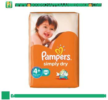 Pampers Simply dry luiers maat 4+ (maxi+) 9-20 kg aanbieding