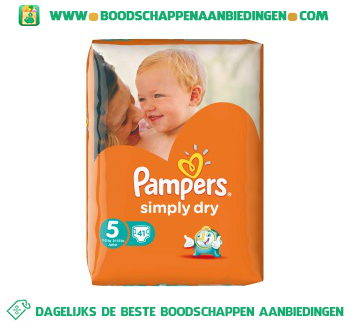 Pampers Simply dry luiers maat 5 (junior) 11-25 kg aanbieding