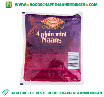 Pataks Mini naanbrood naturel aanbieding