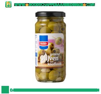 Groene olijven met knoflook aanbieding