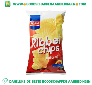 Ribbelchips naturel aanbieding