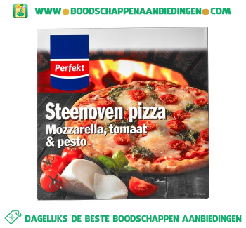 Perfekt Steenoven pizza mozzarella pesto aanbieding