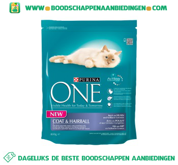 Purina One cat coat & hairball kip aanbieding