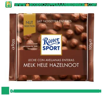 Ritter Sport Chocoladereep hele hazelnoten aanbieding