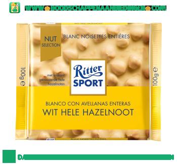 Ritter Sport Chocoladereep wit & hele noten aanbieding