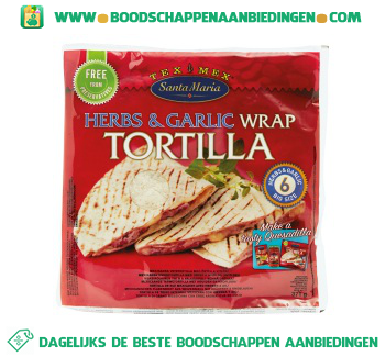 Santa Maria Herbs & garlic wrap tortilla aanbieding