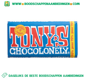 Tony's Chocolonely chocoladereep puur aanbieding