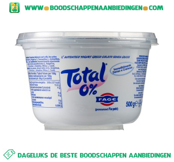 Total Griekse yoghurt 0% vet aanbieding