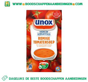 Unox Soep in pak romige tomatensoep aanbieding