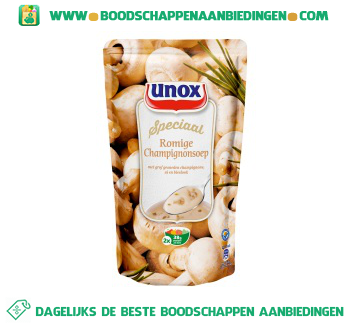 Unox Soep in zak romige champignonsoep aanbieding