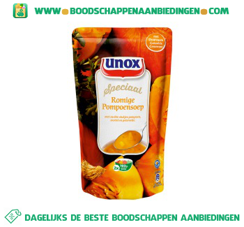 Soep in zak romige pompoensoep aanbieding