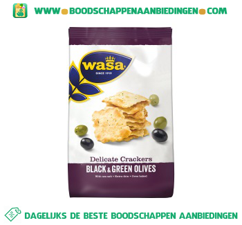 Wasa Delicate crackers black & green olives aanbieding