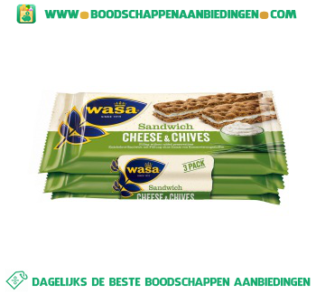 Wasa Sandwich cheese & chives aanbieding