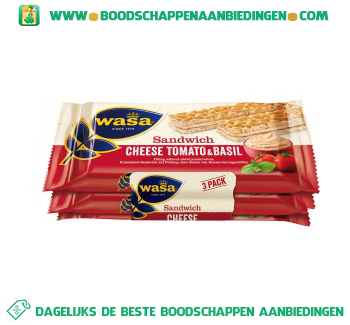 Wasa Sandwich cheese tomato & basil aanbieding
