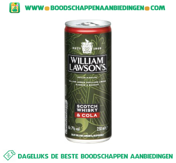 William Lawson`s Scotch whisky & cola aanbieding
